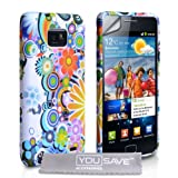 Samsung Galaxy S2 Sii i9100 Multicolour / White Floral Rainbow Pattern Silicone Gel Case Cover Skin With Screen Protector Film And Grey Micro-Fibre Polishing Clothby Yousave