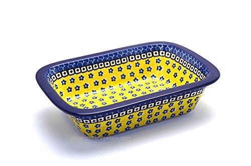 """Polish Pottery Baker - 9 3/4"""" Rectangular - Sunburst Pattern"""