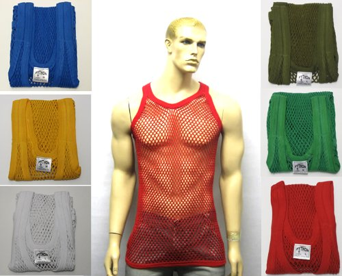 Mens 100% Cotton Fitted Muscle Fishnet String Vest Tank Top Olive X-Large