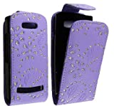 FOR NOKIA ASHA 303 STYLISH LILAC CRYSTAL DIAMOND BLING LEATHER FLIP CASE COVER POUCH