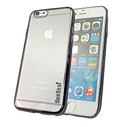 Iphone 6S Plus Case, Sunseai Ultra Thin Clear Crystal Plating Electroplating TPU Soft Mobile Phone Case For iPhone 6 6s Plus 5.5 inch (Black)