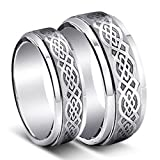 His & Hers 8mm/6mm Tungsten Carbide Wedding Band Ring Set , laser Etched Celtic Design , Sizes 5-14 Including Half Sizes , Email Sizes