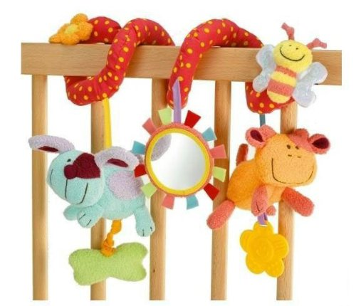 Elc Baby Early Development Toys Multifunctional Spiral Plush Animal Bed Hang Ring Bell front-509241