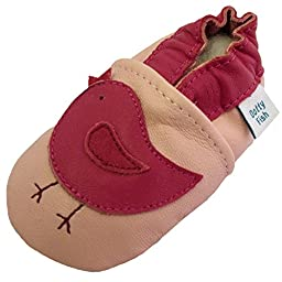 Dotty Fish Girl Baby\'s Soft Leather Shoe with Suede Soles Pink Bird 12-18 Months