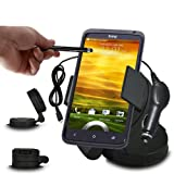 Fone-Case HTC One XL In Car Mini 360 Rotating Windscreen Cradle Mount Mobile Phone Holder With 12V Micro USB In Car Charger & Capacitive Aluminium Stylus Pen