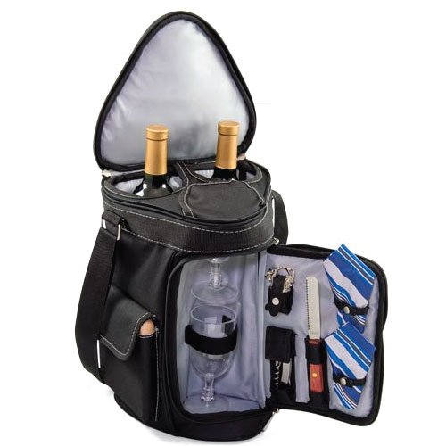 Picnic Time Meritage Insulated Triangular Wine and Cheese Tote, Black