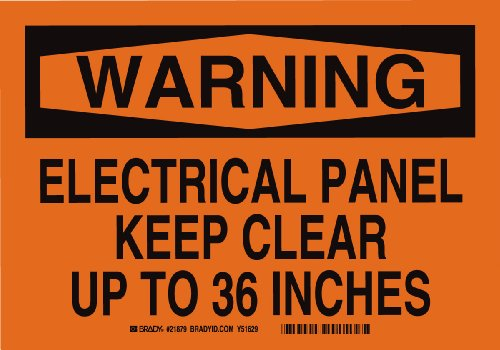 """Brady 21879 Plastic, 7"""" X 10"""" Warning Sign Legend, """"Electrical Panel Keep Clear Up To 36 Inches"""""""