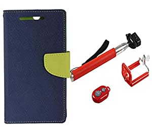 Novo Style Book Style Folio Wallet Case Micromax Canvas 2 A110 Blue + Selfie Stick with Adjustable Phone Holder and Bluetooth Wireless Remote Shutter