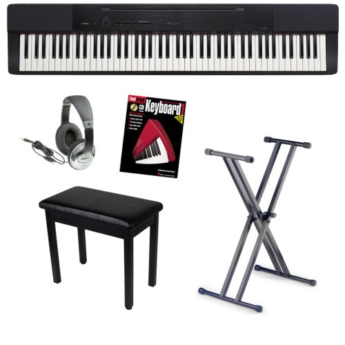 Casio Privia PX-150 88-Key Digital Piano Bundle with Bench, Stand, and Headphones, and Instructional Book – Black