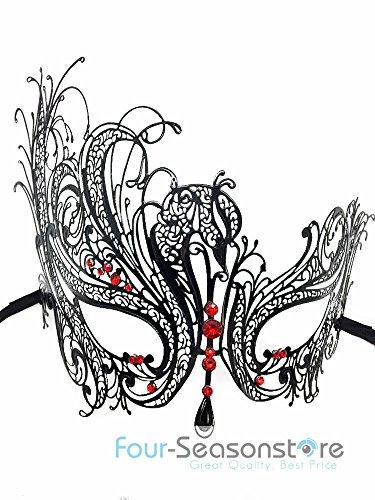 [Black Swan Metal Laser Cut Venetian Halloween Ball Masquerade Party Mask] (Alice In Wonderland Halloween Costumes Ebay)