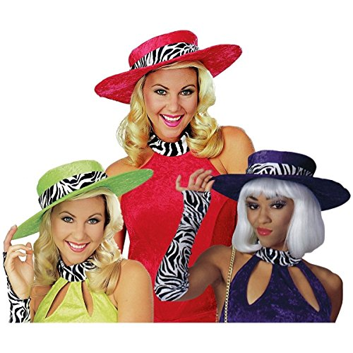 [GSG Red Mama Hat Adult Womens Velvet Pimp Pimpette Ho Halloween Costume Acsry] (Funny Pimp And Ho Costumes)
