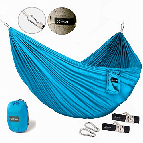 ZOMAKE-Portable-Hammock-Lightweight-pure-Color-nylon-fabric-Parachute-Hammock-for-outdoor-Camping-HikingTravel-Hammock-Straps-Steel-Carabiners-include