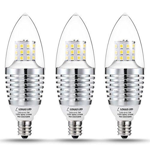 LOHAS Candelabra LED Light Bulbs,7W Warm White (2700K) LED Bulb,65-70 Watt Light Bulbs Replacement,E12 Candelabra Base, Torpedo LED Chandelier Bulbs For Home Lighting(3 Pack) (70w Led Bulb compare prices)