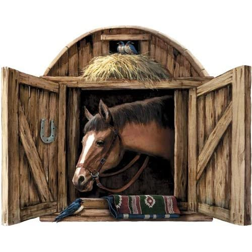 Stable door with horse peel and stick wall for Cowboy wall mural