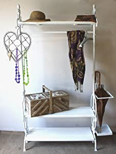 vintage style antique white wrought iron clothes hanging