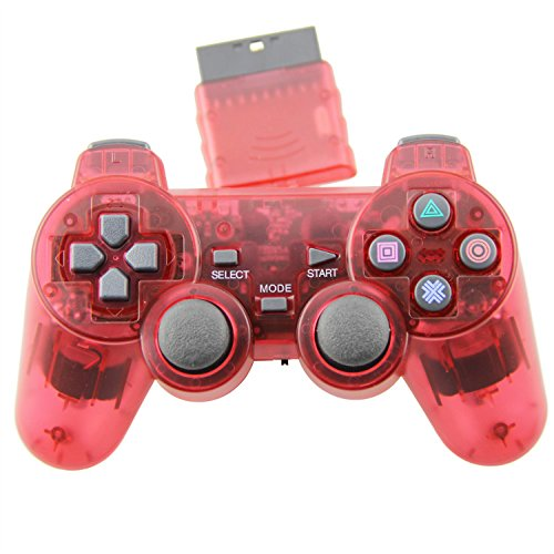 TPFOON Wireless Controller Double Vibration Gamepad Joystick For PS2 Playstation 2 Red (Sony Ps2 Wireless Controller compare prices)