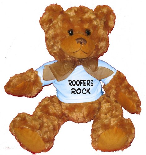 Roofers Rock Plush Teddy Bear  BLUE T-Shirt