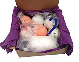 Bath Bombs Gift Set - 6 Extra Large, 4.5 Oz Bath Bomb Fizzies Handmade In The USA. Bonus Mesh Pouf Sponge Included