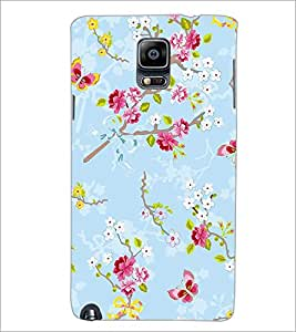 PrintDhaba Flowers and Butterfly D-1156 Back Case Cover for SAMSUNG GALAXY NOTE 3 (Multi-Coloured)