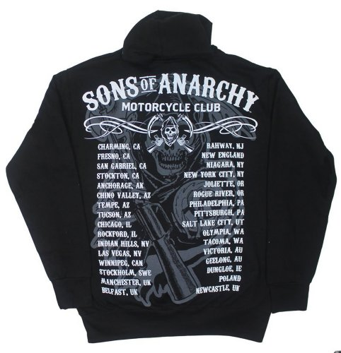 Sons of Anarchy Chapters Cities Reaper SOA Adult Zip UP Hoodie