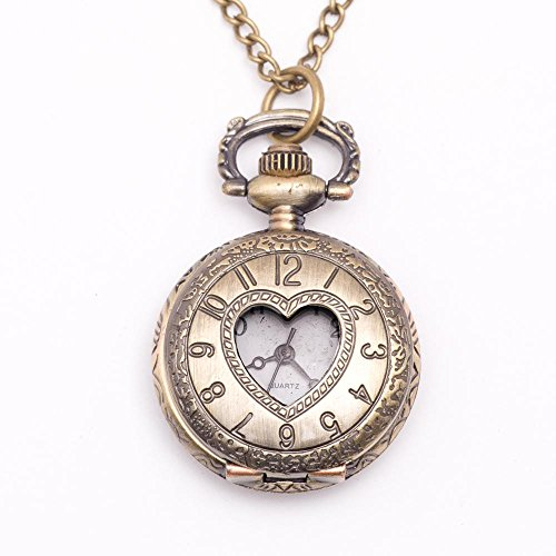 81stgeneration-Womens-Brass-Vintage-Style-Love-Heart-Pocket-Watch-Chain-Pendant-Necklace-78-cm