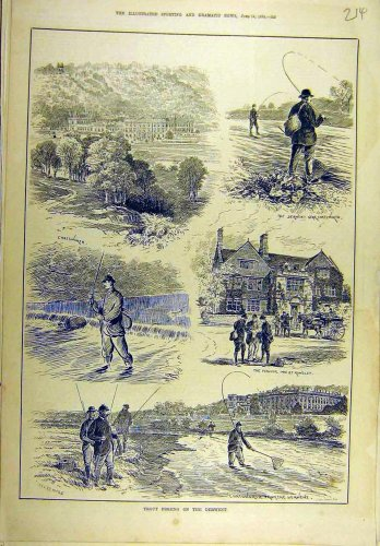 1884 Trout Fishing Derwent Water Fishermen Sport Print