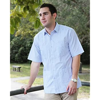 Deluxe Short sleeve white-New blue stripped Guayabera Shirt