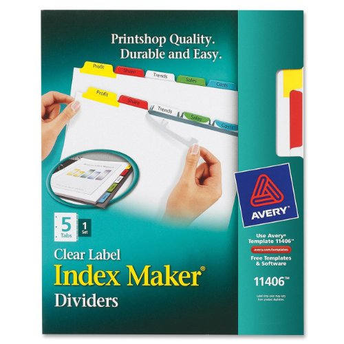 AVERY Index Maker, Laser/Inkjet, 5 Tab, 1 Set, Multicolor