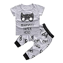 Baciby born Baby Infant Boys Girls Outfit Printed T-shirt Tops Pants Clothes 1 Set from Baciby