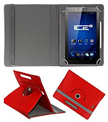 ACM ROTATING 360° LEATHER FLIP CASE FOR ICE SPECTRA PLUS + 3G TABLET STAND COVER HOLDER RED