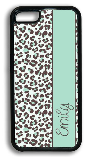 Personalized Monogram Iphone 5C Case - Light Aqua Turquoise Cheetah With Your Name - Monogrammed Case For Iphone 5C Case Fits All Carriers front-783000