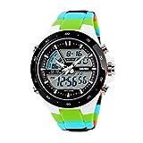 GOHUOS スポーツ時計 LED アナログ-デジタル光のアラーム クロノグラフ Mulitfunction メンズ/レディース手首腕時計グリーン