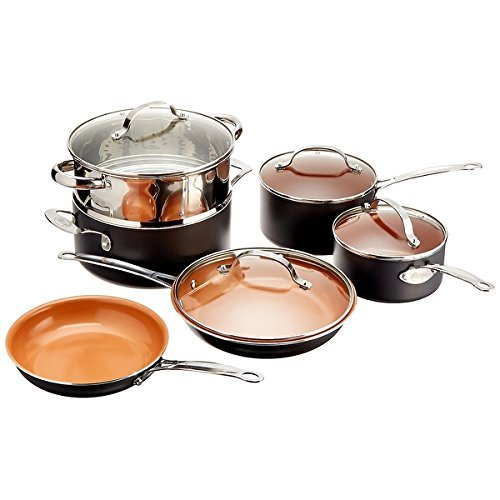 Gotham Steel 10-Piece Kitchen Nonstick Ti-Cerama Frying Pan and Cookware Set (Pots And Pans Set Wolfgang compare prices)