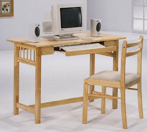 Buy Low Price Comfortable Lakin Maple Computer Desk with Chair (2 Piece) Set (B003XNK55G)