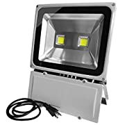 GLW 100W LED Outdoor Flood Light Super Bright,9000lm,6000K,110V,250W HPS Bulb Equivalent,Waterproof IP65 Security Work Light,US 3 Prong Plug