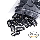 SWACC 100 Pcs U Shape Metailic Snap Clips ins for Hair Extension Hairpiece DIY Snap-Comb Wig Clips with Rubber (Black, 9-Teeth 6 Holes)