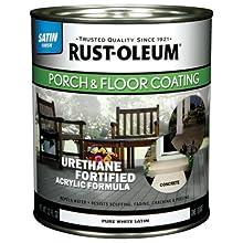 Rust-Oleum 244859 Porch Floor Paint, Pure White Satin, 1-Quart