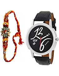 Best Gift For Brother, Men, Boys , Black Dial Analogue Casual Wear Watch With Free Rakhi (Rakhi Designs May Vary... - B01K7N7ZTI