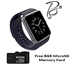 Blackseed Advance GT08S (BLACK) Smart Watch with Sim and Memory Slot + Free 8GB MicroSD Memory Card
