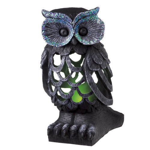 Grasslands Road Midnight Owl Resin Figurine With Green Led, 9-Inch, 2-Pack