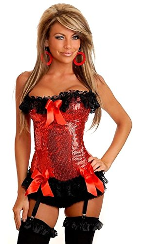 Daisy Corsets Red Sweet Valentine's Underwire Sequins Corset Lingerie sm-xl
