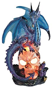 Blue Dragon Standing On Skull Head Collectible Figurine Statue Décor