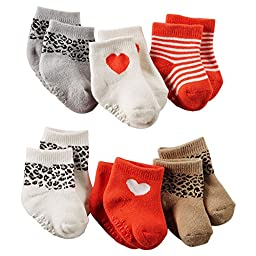 Carters Baby Girl to Zoom in 6-pack Animal Print Socks (3-12 Months, Multi)
