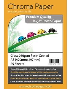 Chroma - A3 Glossy Inkjet Photo Paper - Premium Grade 260gsm Resin Coated Gloss (25 Sheet Pack)