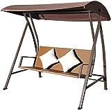 Outsunny Hollywoodschaukel 3-Sitzer Schaukel Polyrattan Eisen mit Kissen belastbar bis 360 kg, neu braun