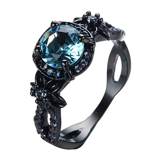 Rongxing Jewelry 7mm Round Blue Aquamarine Topaz Crystal Ring Size 6 Chain Women's Black Gold Filled Engagement Gift (Black Rings For Teens compare prices)