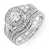 14k White Gold Round Diamond Ladies Bridal Ring Engagement Set Matching Band (1.25 cttw, G-H Color, SI-I Clarity)