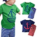 CHIC-CHIC 2pcs Baby Boys' Summer Clothing Sets Outfits Cute Cartoon Short Sleeve T-shirts Top+ Stripe Shorts Pants Set by CHIC-CHIC