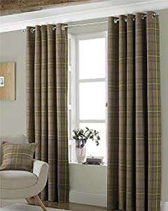 "Tartan Check Woven Wool Look Green Lined 90"" X 90"" - 229cm X 229cm Ring Top Curtains from Curtains"