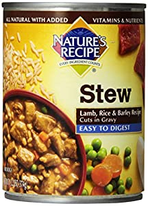 NATURE'S RECIPE Cuts In Gravy, Easy to Digest,  Lamb/Rice/Barley Can For Dog, 13.2-Ounce, 12-Pack